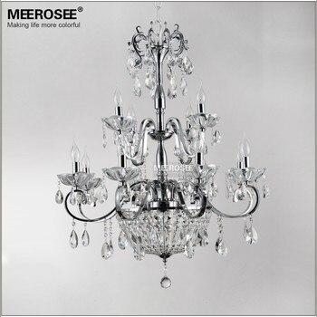 Candelabro de cristal Vintage accesorio de iluminación de hierro forjado sala de estar restaurante cristal Lustre lámpara decoración del hogar Candelabro