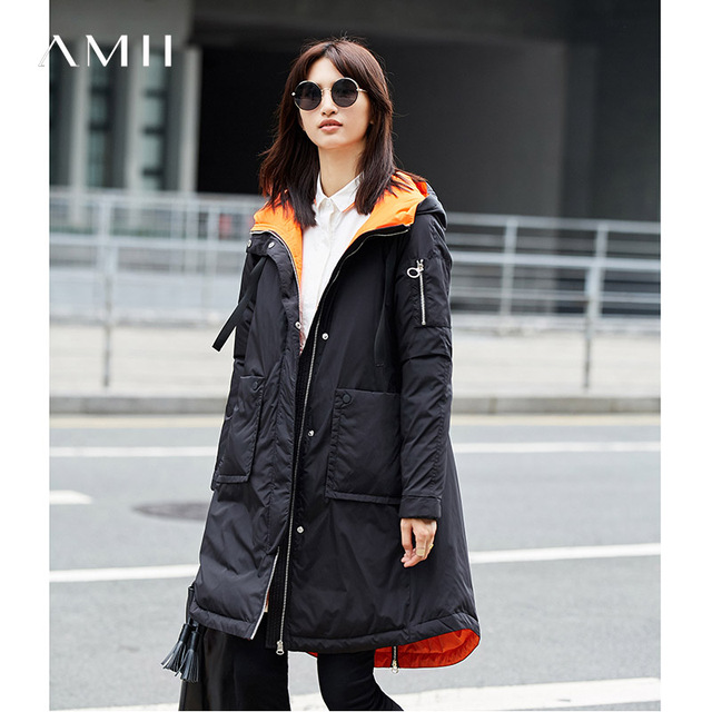 Amii Minimalist Women 2017 Winter Loose 90% White Duck Down Coat Hoodies Pocket Female Fashion Light Jacket Coats