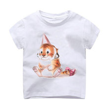 T-Shirt Children Modal Printing Kids Clothes Short Sleeves t shirt tshirt tiger feanimal cute Spring Pattern Lady(China)
