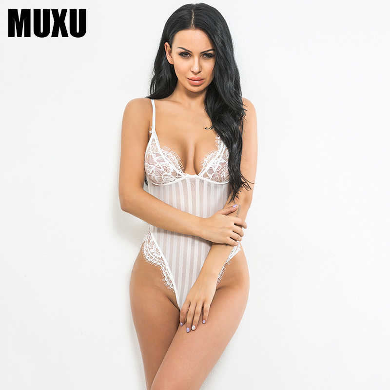 142785e732 MUXU 2018 women sexy summer jumpsuit white bodysuit europe and the united  states jumpsuits rompers body