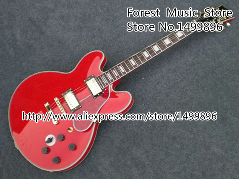 Custom Shop Cherry Red Ruby B.B. King Lucille Double Jack Plates ES Electric Guitar with Golden Hardware Free Shipping