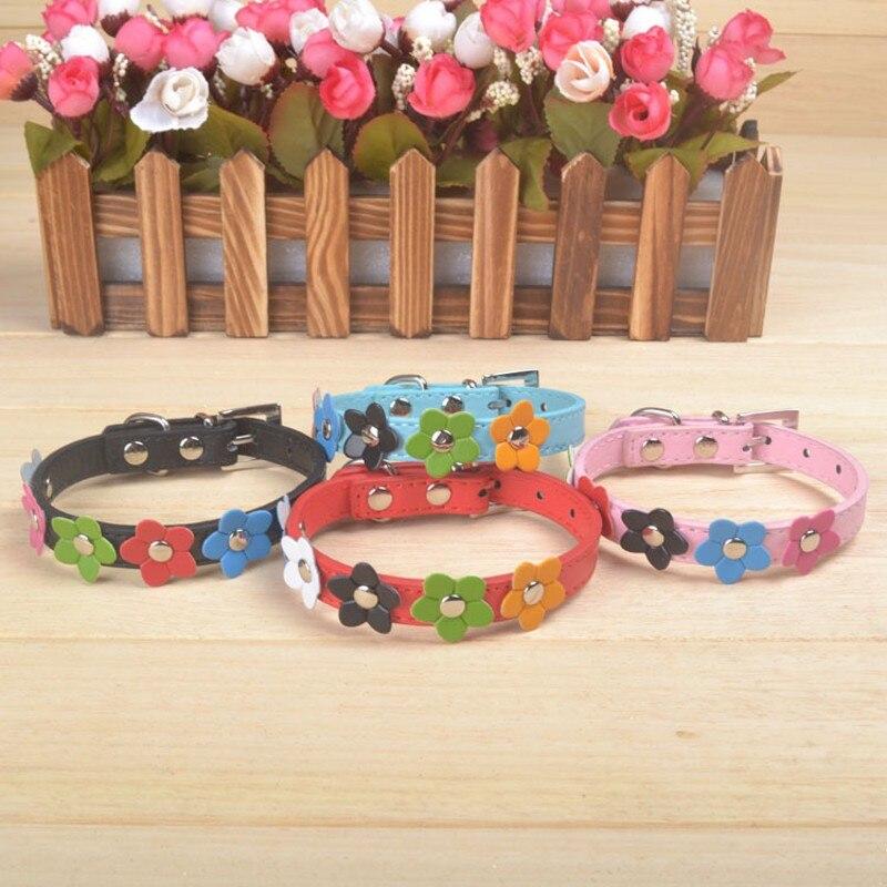 2016 New Pet Collars Pink Dog Collar flower Embellishment Fantasy Flowers XS S M L