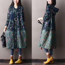 2017 female new autumn and winter  national trend print plus size outerwear medium-long with hood denim trench