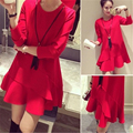 Maternity clothing Spring and autumn O-neck cotton long sleeve Flounced one-piece dress Pregnant women long-sleeved dress  L1881