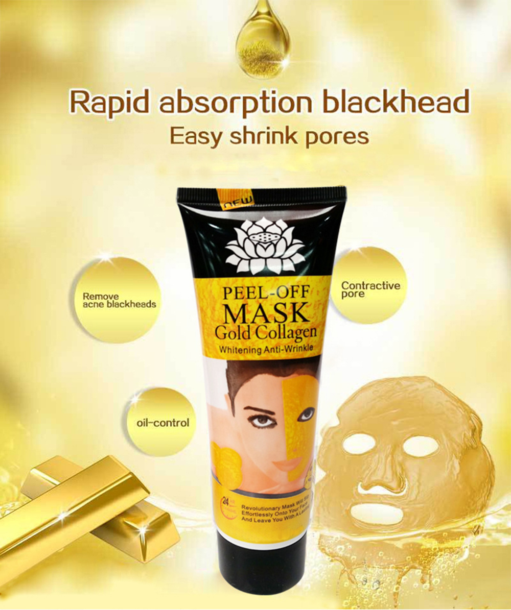 Gold Remove Blackhead Mask 24K Yellow Gold Collagen Facial Face Mask Shrink Pore Improve Rough Skin Acne Remover Mask TSLM2