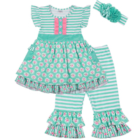 Newest Arrival Girls Floral Summer Fashion Dress Top Cotton Striped Pants Boutique Outfit Ruffler Sets With