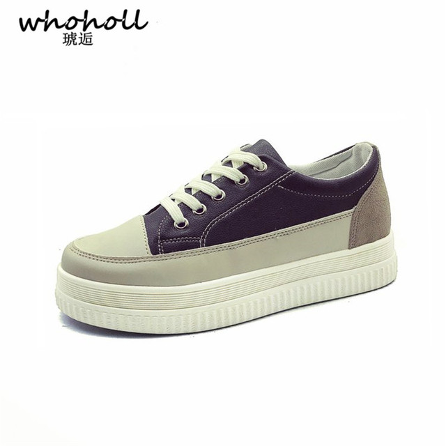 92a1fad1bf50 WHOHOLL 2018 Spring Women Vulcanize Canvas Shoes Women Casual Sneakers  Lace-up Elevator Platform Shoes Female Zapatillas Mujer