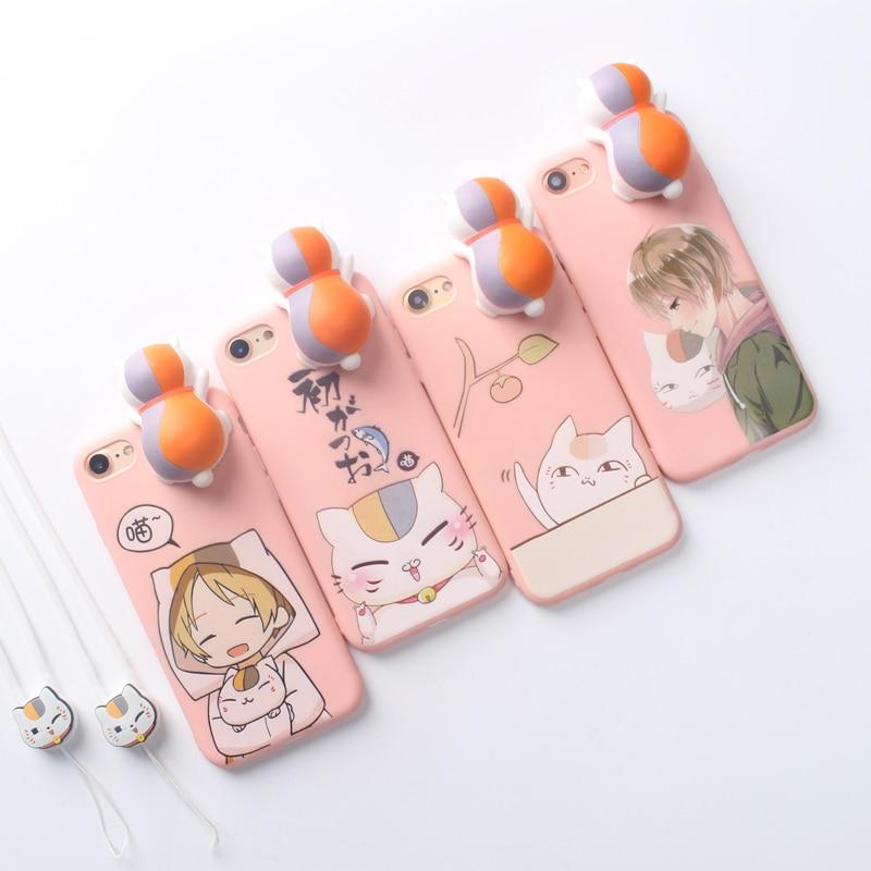For iPhone 7 8 Lucky Cat Japan Comic Case 3D Silicone Maneki Neko String Cartoon Squishy Case For Apple iPhone X 7 8 Plus Coque
