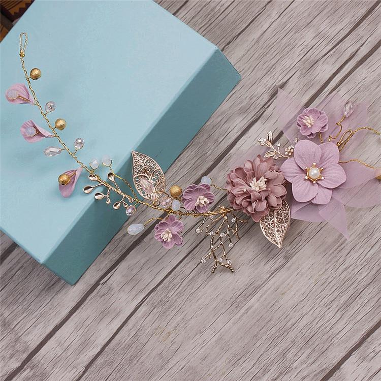 Bride Headdress Wedding-Hair-Ornaments Flower Long-Hair Purple-Series Handmade Gold Beach