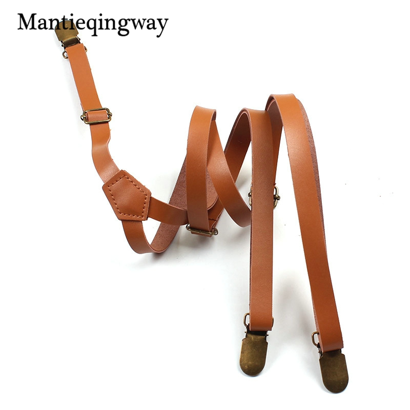 Mantieqingway Skinny Suspenders Men Adjustable PU Leather Belt Suspenders For Women Button Braces Belt Trousers Strap