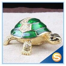 Feng Shui Craft Sea Turtle Crystal Studded Turtle Shape Jewelry Box Handmade Miniatures Sea Turtles(Random Color)