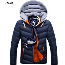 FALIZA Winter men coat jacket Thermal winter jacket Hat Detachable Warm Coat Jackets Hooded Collar Slim Clothes Thick Parkas 4XL