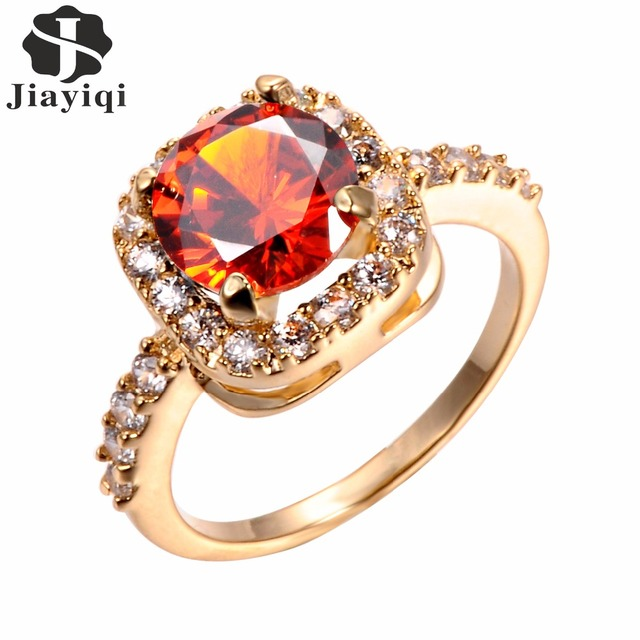 6 Color 2017 Big Stone Vintage Cubic Zircon Rose Gold Rings for Women Wedding Ge