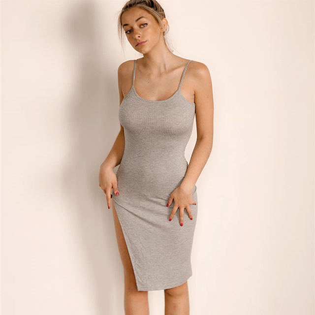 Midi bodycon dress split