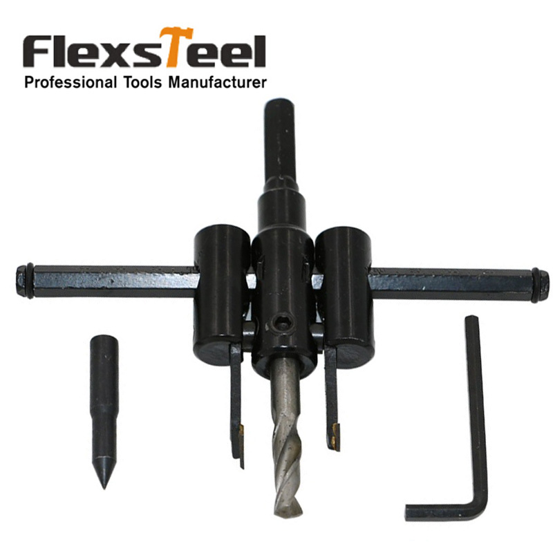 Flexsteel Adjustable Circle Cutter Drill Bit Kit Metal Wood Twist Hole DIY Woodworking Tools 30-120mm adjustable 40mm 200mm circle hole cutter drill bit set with wood metal hole saw drilling tool for woodworking power tools