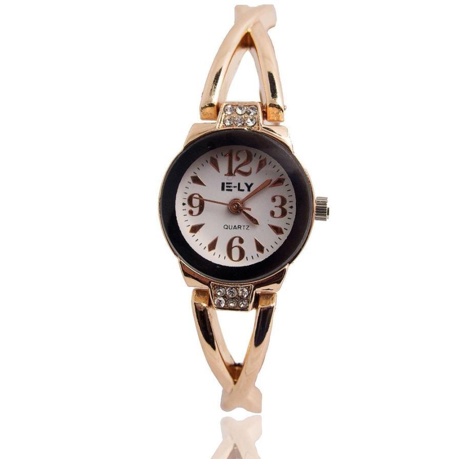 Watch montre femme Women's Chic Rose Gold Plated Rhinestone Bracelet Dial Quartz Analog Wrist Watches  jun5