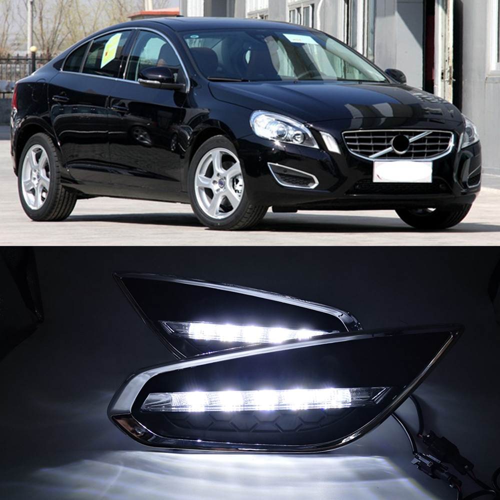 CSGJMY 1Set DRL LED Daytime Running Lights Daylight Fog Lamp cover with turn signal for Volvo