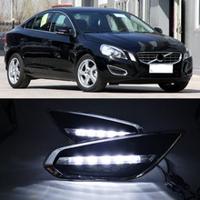 CSGJMY 1Set DRL LED Daytime Running Lights Daylight Fog Lamp cover with turn signal for Volvo S60 2009 2010 2011 2012 2013