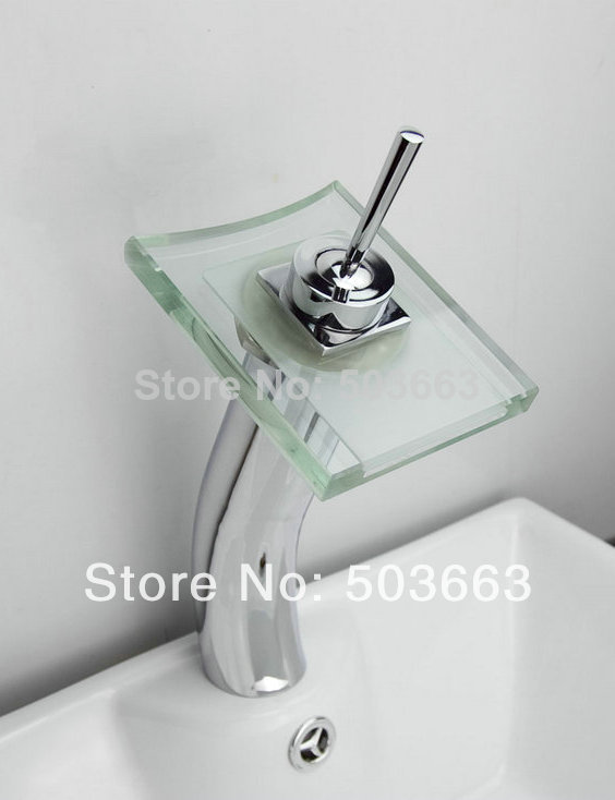 цены Glass Waterfall Spout Bathroom Basin Faucet Vanity Mixer Tap Chrome 1 Handle Tap L-1615