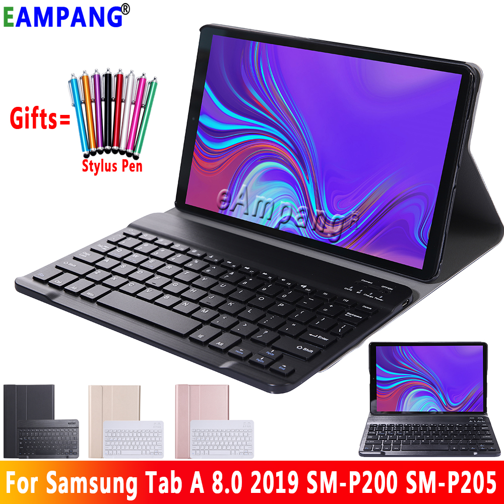 For <font><b>Samsung</b></font> Galaxy Tab A 8.0 2019 Keyboard Case P200 <font><b>P205</b></font> SM-P200 SM-<font><b>P205</b></font> Slim Leather Bluetooth Keybaord Cover Case Funda image