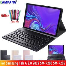 Para samsung galaxy tab um 8.0 2019 teclado caso p200 p205 SM P200 SM P205 couro fino bluetooth keybaord capa funda