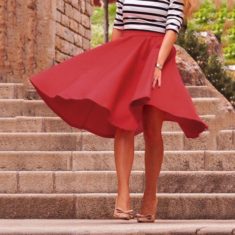 2018 Summer High Waist Middle Zipper Skirt Coat Knee Length Skirts Vintage Midi Skirt Women Pleated Clothing Silk Pure Color