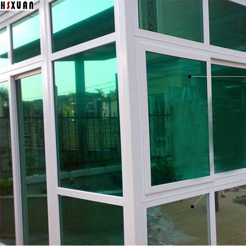 One Way Mirror Decorative Clear Window Film 50x100cm Green Solar Reflective  99% UV Office Glass Door Sticker Hsxuan Brand 509011