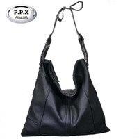 P.P.X Fold Women Bag Brand High-capacity Handbag Europe And America Cow Leather Shoulder Bag Elegant Luxury Bolsa Feminina M665