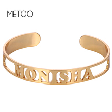 METOO Hollow Korean Men Bangles Name Rose Gold Bracelet for Women Round Golden Open Custom Couple Bangles Jewelry for Etsy stylish golden hollow rounded rectangle hasp bracelet for women