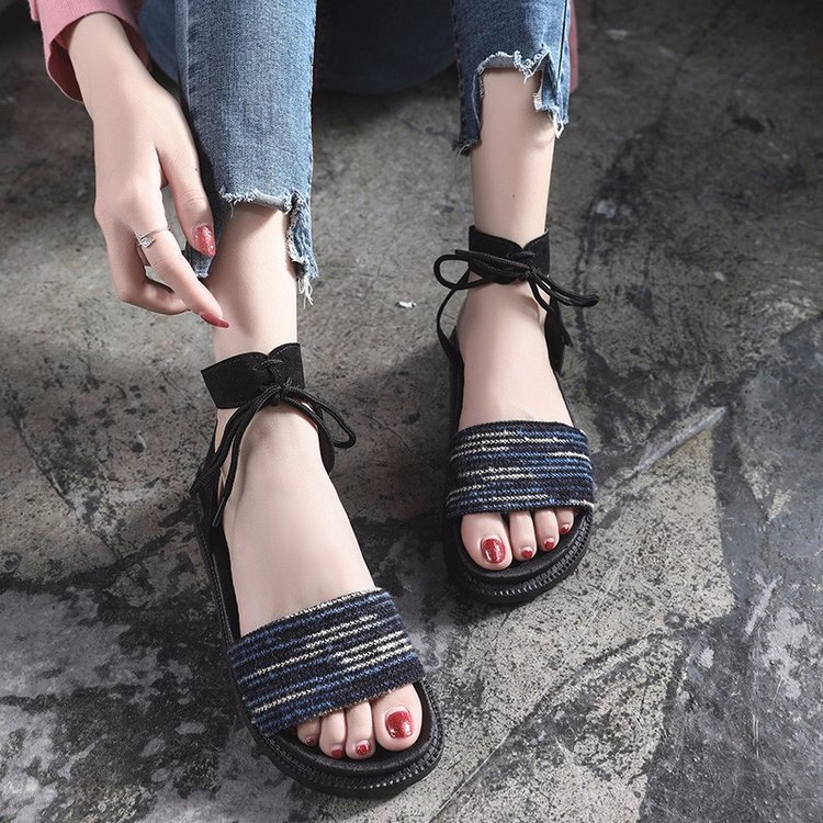Casual Lace-up Rome Gladiator Women Sandals Solid Ankle Strap Shallow Women Shoes Summer Fashion Flat Sandals 1