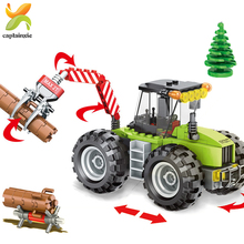 182+PCS City Forest Tractor DIY Building Blocks Compatible Duploed City Engineering Construction Vehicles car Toys For Children