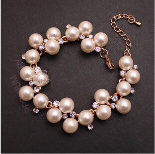 Fashion New Brand Design Luxurious 18k Gold Charm Crystal Cubic Zircon Diamond Pearl Beads Bracelet For