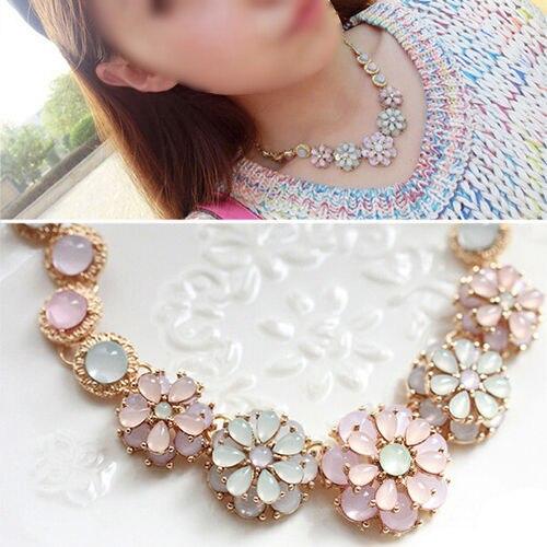 SAF-Flower Bib Necklace Chunky Pearl Choker Pendant Chain