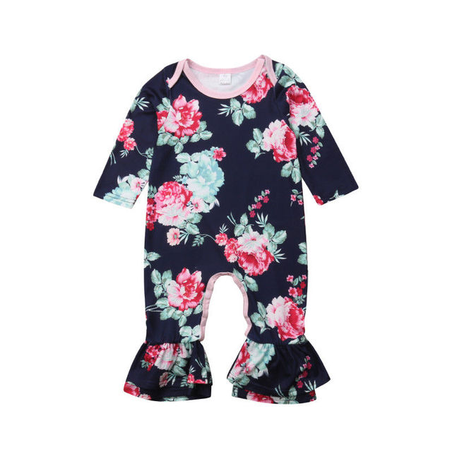 be763884c5d2 Emmababy Newborn Baby Fashion Girl Long Sleeve Flower Ruffle Romper Jumpsuit  Autumn Outfits Clothes 0-24M
