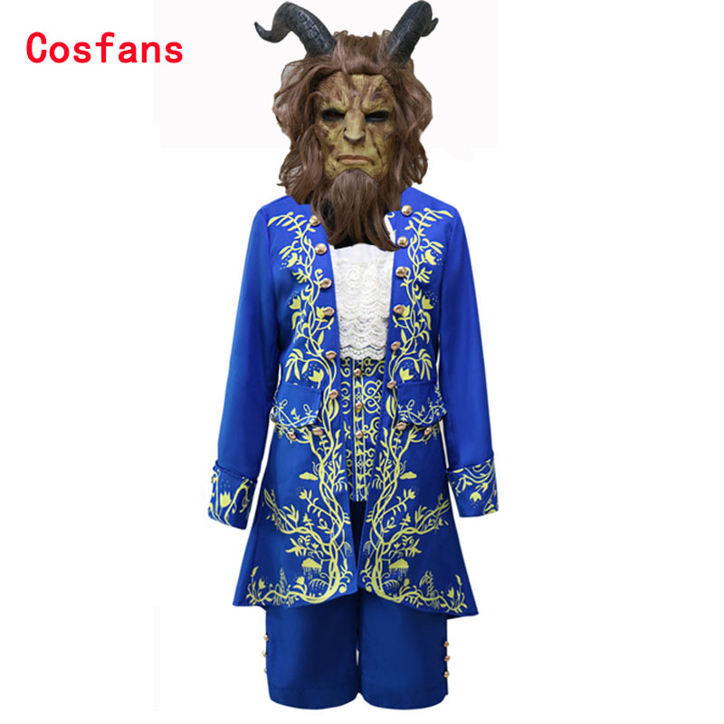 Free shipping 2018 Movie Beauty and the Beast Cosplay Costume Adult Prince Adam Costume for men Halloween Carnival Party uniform