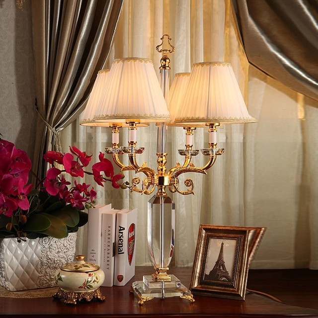 New Classical Crystal Table Lamp Golden Luxury European Model Room