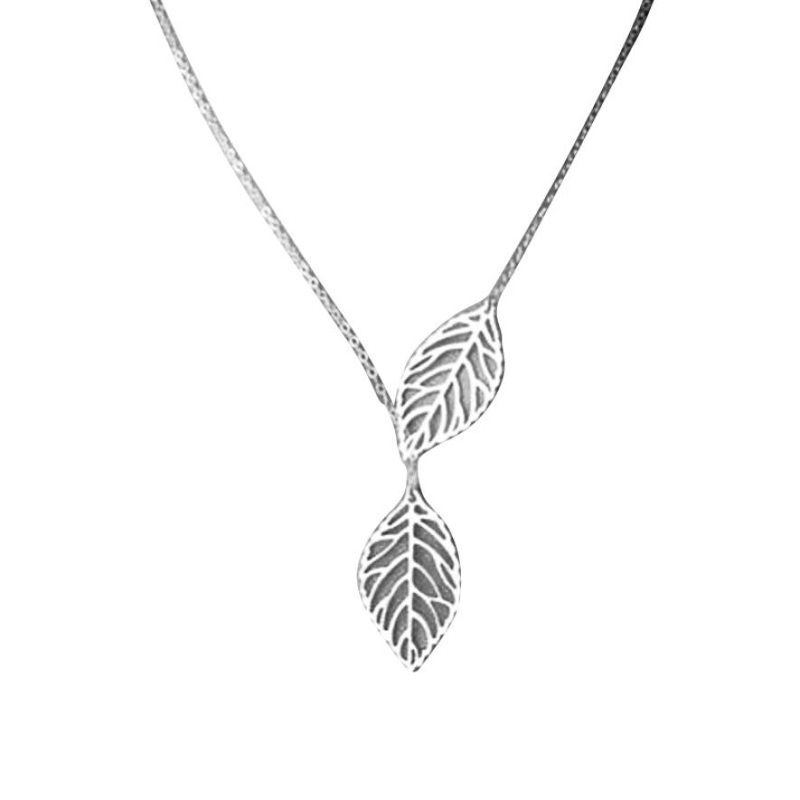 snowshine YLWX 1PC Womens Girls Simple Metal Double Leaf Pendant Alloy Choker Necklace free shipping