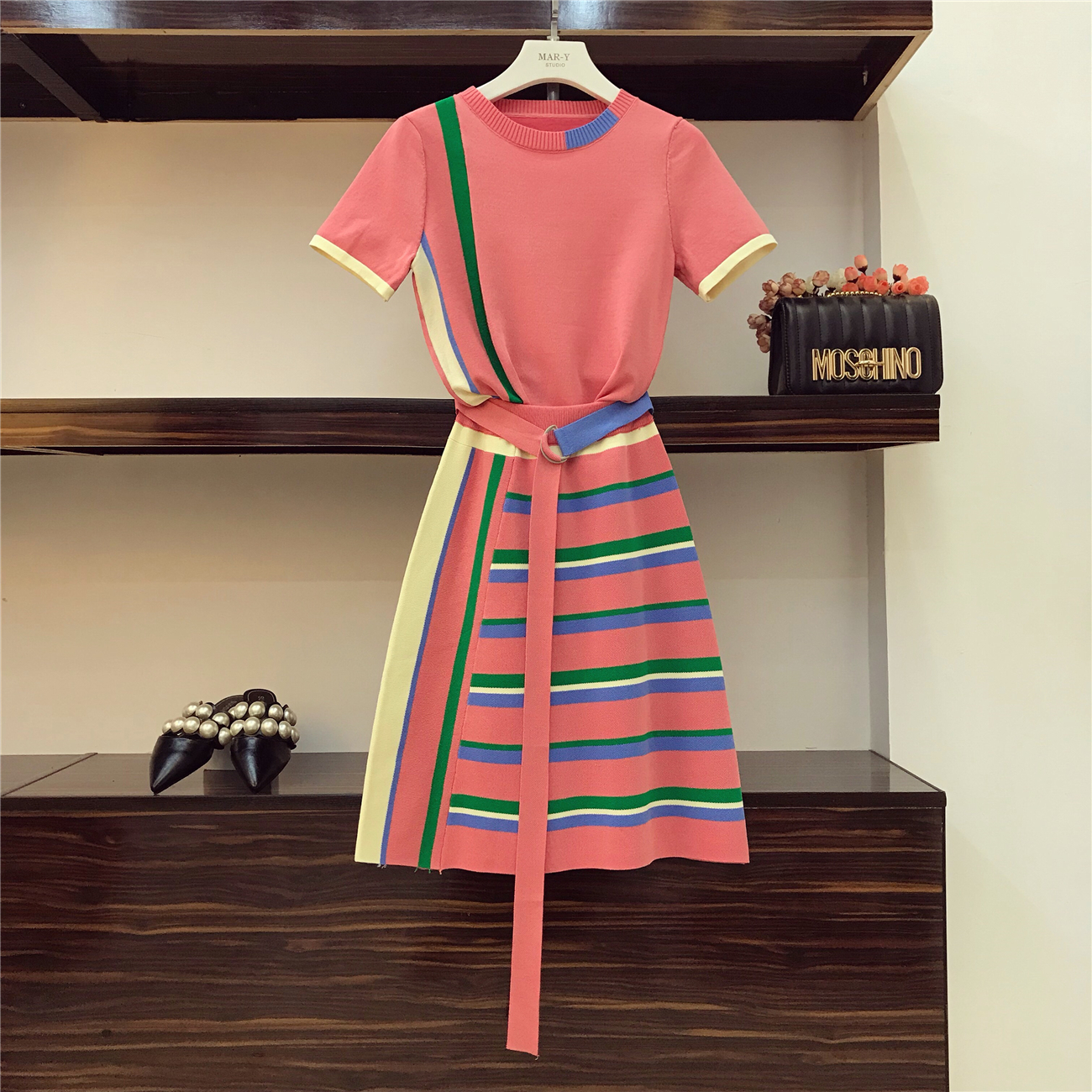 2018 Summer Women Fashion Color Patch Knitted T Shirt + High Waist Stripe Half Skirt Sets Girl Lady Two Piece Suit Skirts Set
