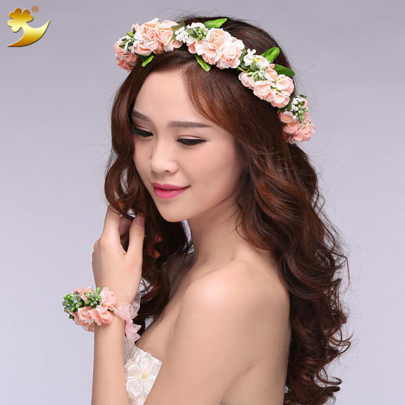 Pe Rose Flower Wreath Crown Garland For Wedding Party Festival Headpiece Korean Fl 58006 Head In Hair Accessories From