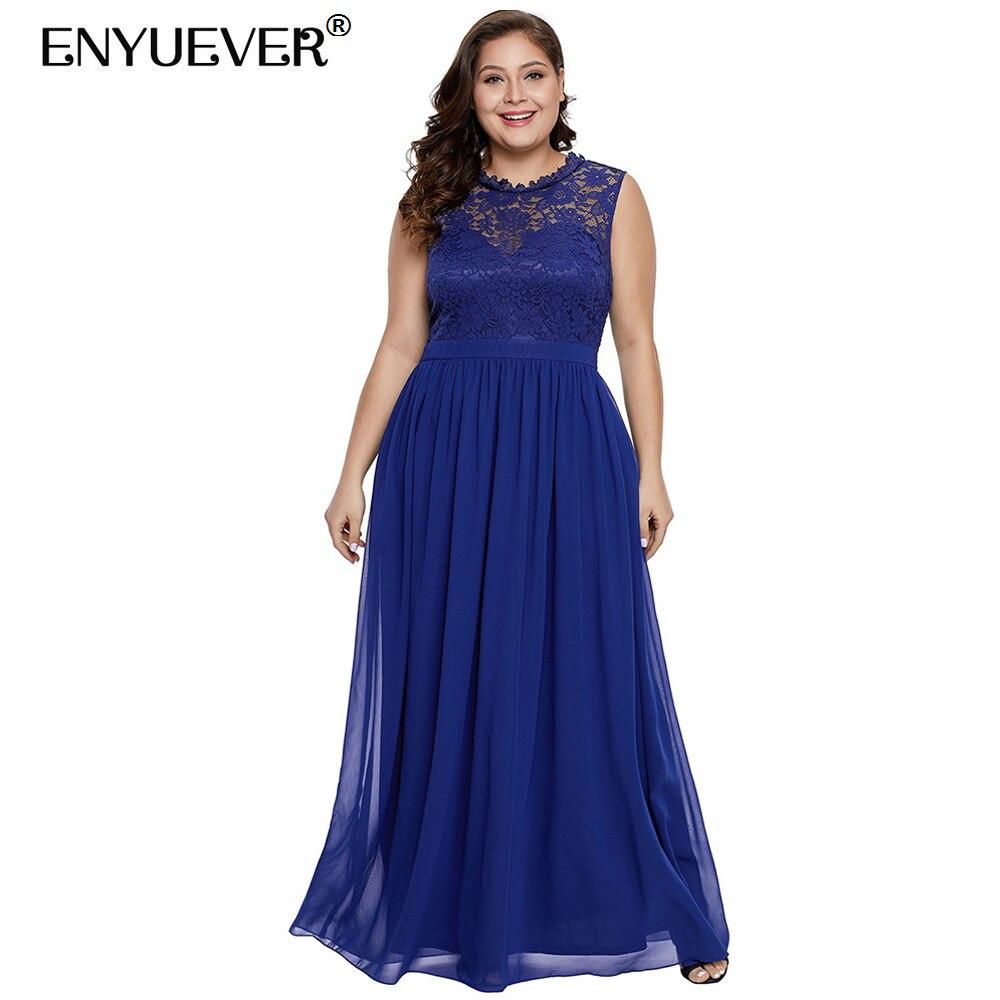 Enyuever Royal Blue Formal Dress Plus Size Women Summer ...