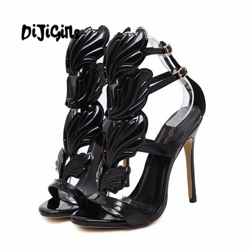 Talons Nouveau Hauts Gladiateur Sandale Chaussures nude De Feuilles Partie À Haut Femme Sandales Stiletto Ailes Or Golden Talon Femmes D'été black Flamme Entailles IwfrvqCI
