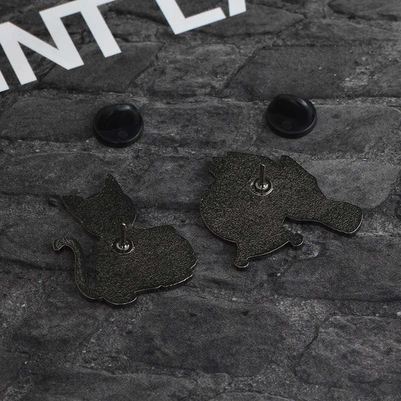 Bad Witch เข็มคริสตัล Ball Handmade สีดำ Cat Skull Retro Enamel Pin เข็มกลัด Badge ตกแต่งคาวบอยเครื่องประดับฮาโลวีน