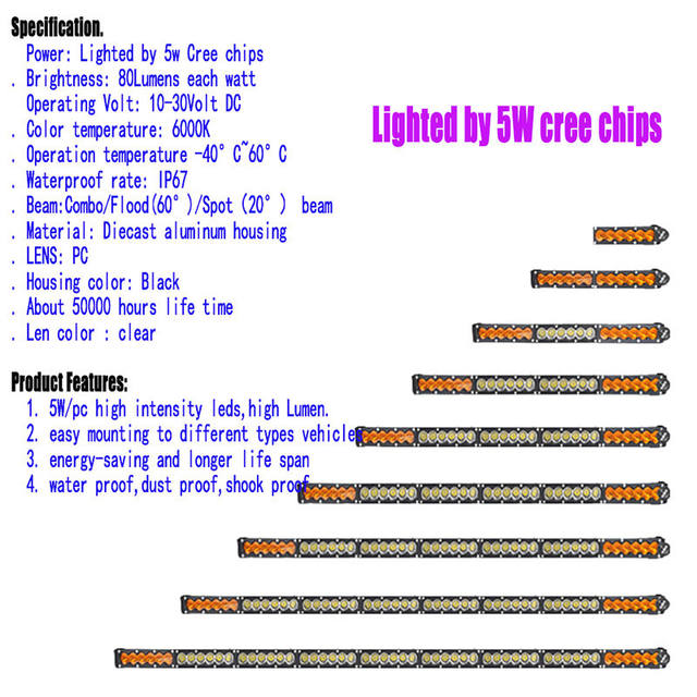 Online shop 180w 38 white amber yellow single row led light bar 5 5w dual color led driving light bar led work light bar straight roof offroad truck aloadofball Image collections
