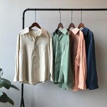 Satin Women Blouse Shirt 2019 Autumn Korean Style Long Sleeves Femme Office Shirts Elegant Imitation Silk 0301