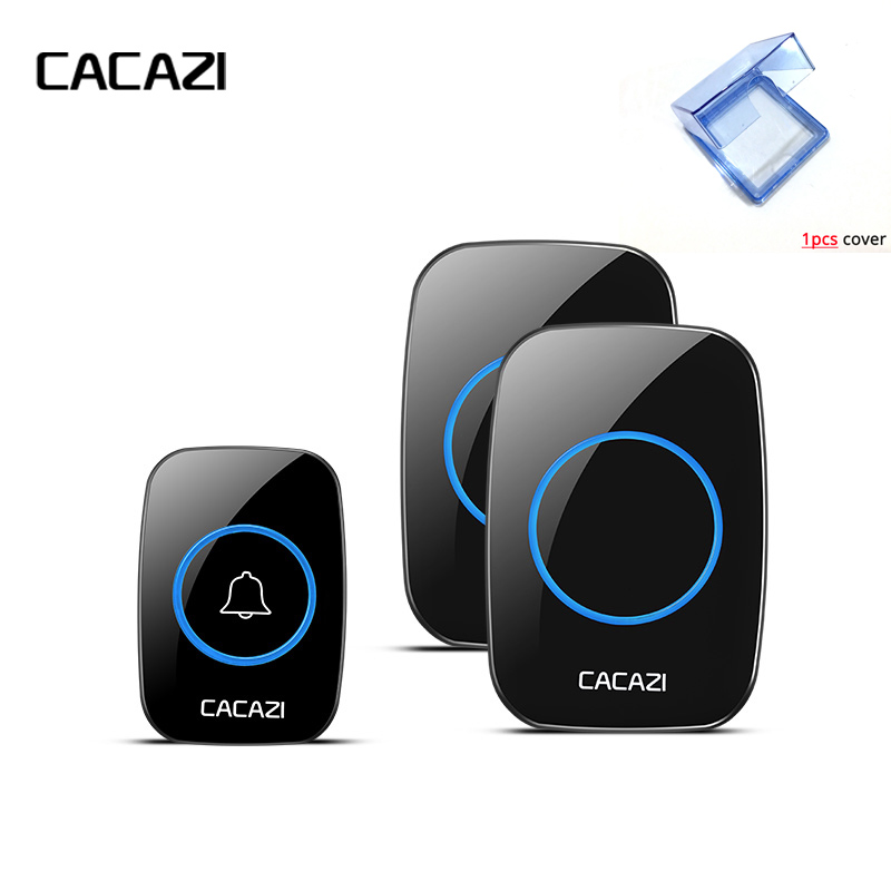 CACAZI New Waterproof Cover Wireless Doorbell 300M Remote EU/UK/US/AU Plug smart Door Bell Chime 220V 1V2 buttons 1V2 receivers wireless cordless digital doorbell remote door bell chime waterproof eu us uk au plug 110 220v