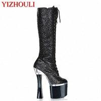 18cm Dazzle color black lure color core shoe, face mature sexy club pole dance, boots show high heel Dance Shoes