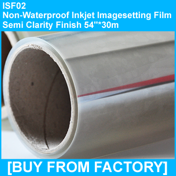 "Non-waterproof Inkjet Imagesetting Film Semi-clarity 54""*30M"