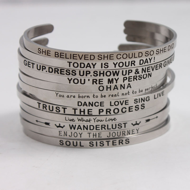 2018 Hottest Quotes Mantra Bracelets 316l Stainless Steel Open Cuff Bangle Fashion Women Female Inspirational Jewelry