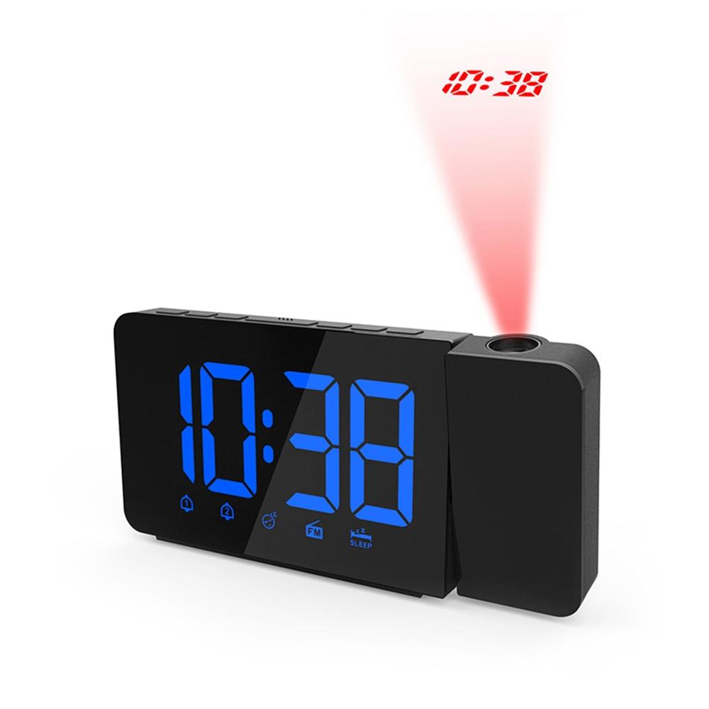 LED Radio Projection Clock FM Radio Creative Fashion Alarm Clock Snooze Function Projection Clock clock digital led in Alarm Clocks from Home Garden