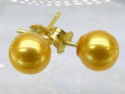 AAA + + + 10-10.5mm or parfait rond mer du sud perles boucle doreille 14 K orAAA + + + 10-10.5mm or parfait rond mer du sud perles boucle doreille 14 K or